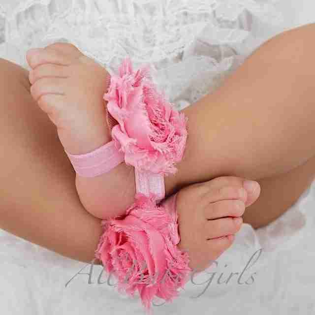 Sandalias Pie Descalzos Rosadas con Flor