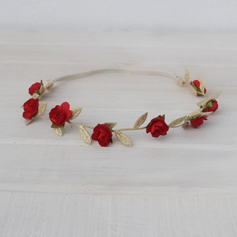 Vincha Dorada Griega con Flores Rojas