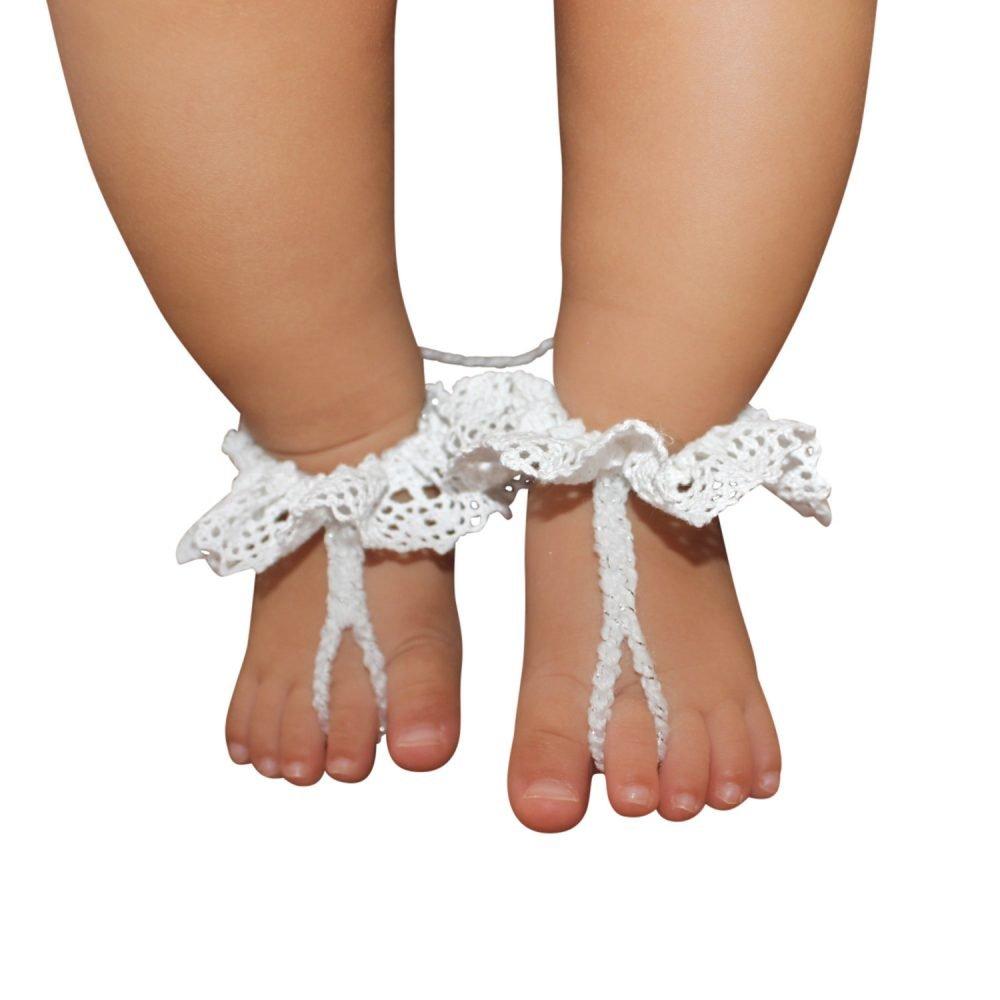 Sandalias Pie Descalzo Blancas Tejidas