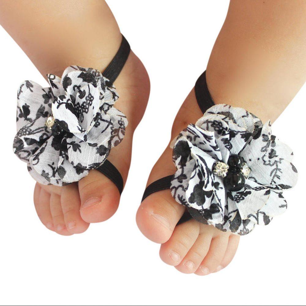 Sandalias Pie Descalzo Blanco con Negro de Flor