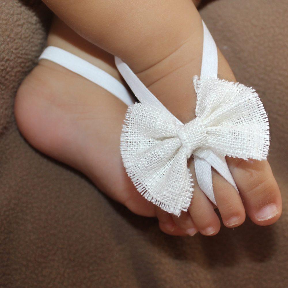 Sandalias Pie Descalzo Blancas con Lazo