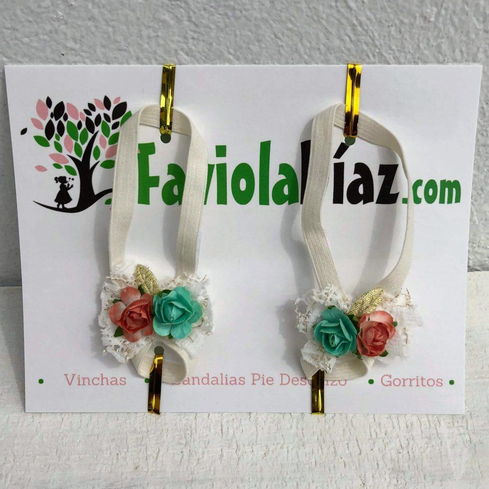 Sandalias Pie Descalzo Vintage con Flores Menta Anaranjado y Beige