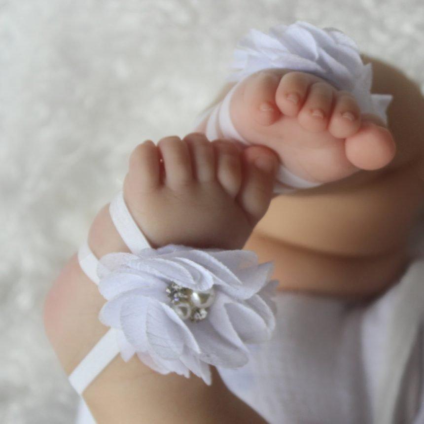 Sandalias Pie Descalzo Blancas con Flor