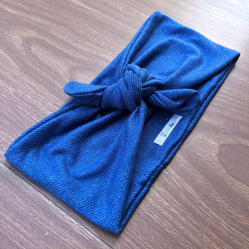 Vincha Azul Jeans Turbante De Nudo Regular