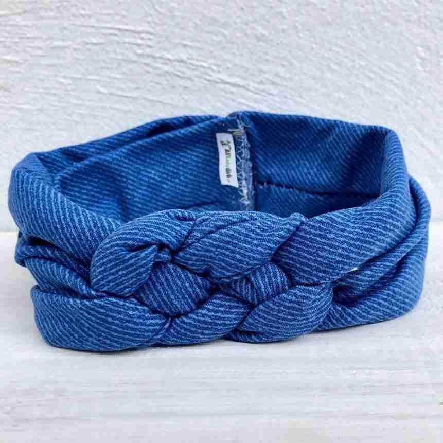 Vincha Azul Jeans con Nudo Náutico