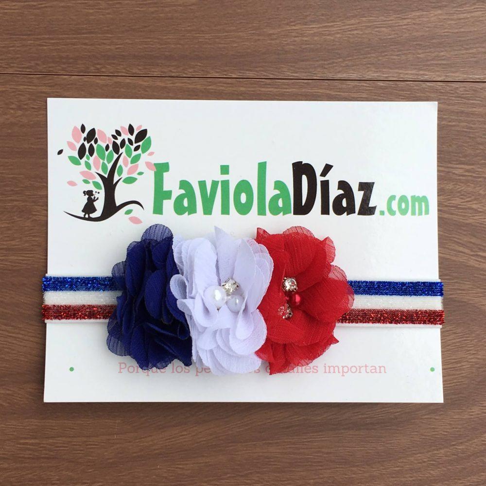 Vincha Blanco Azul y Rojo con 3 Flores Camila
