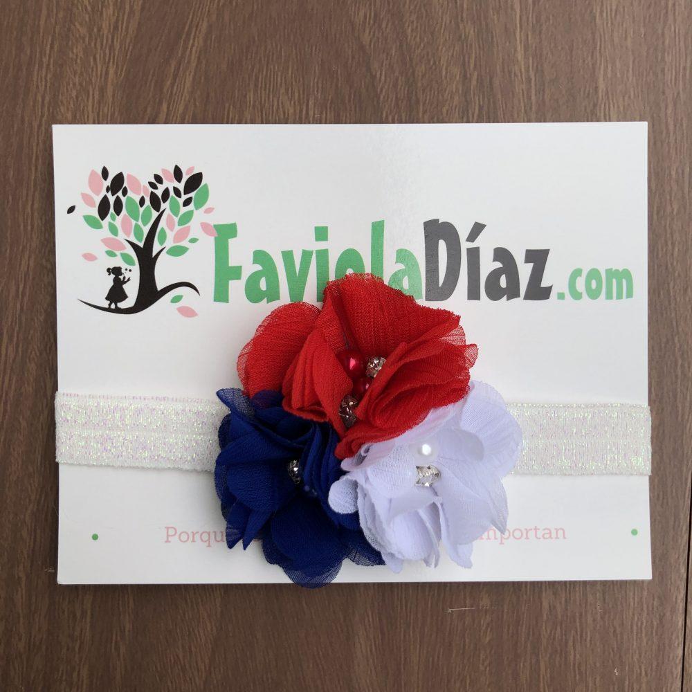 Vincha Patriótica Costarricense Blanco Azul y Rojo De Flores