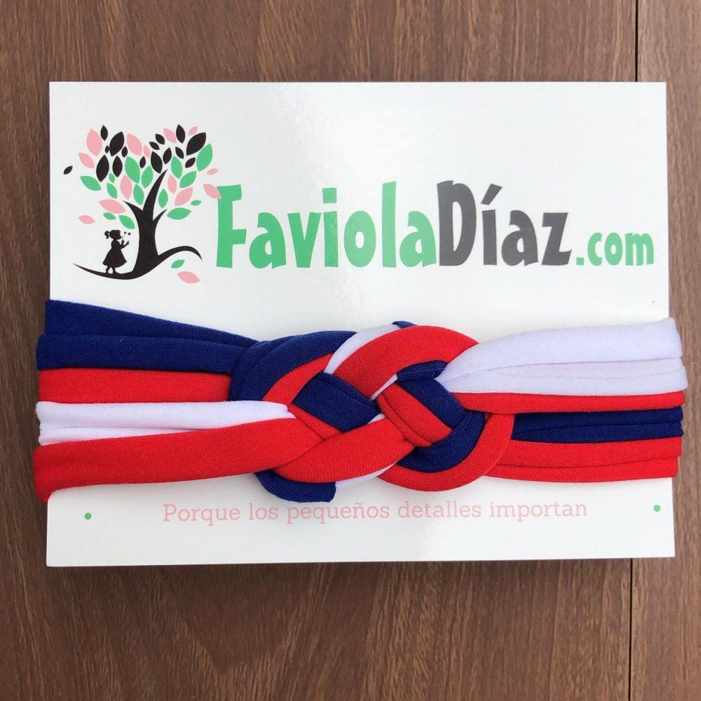 Vincha Patriótica Costarricense Blanco Azul y Rojo con Nudo Náutico