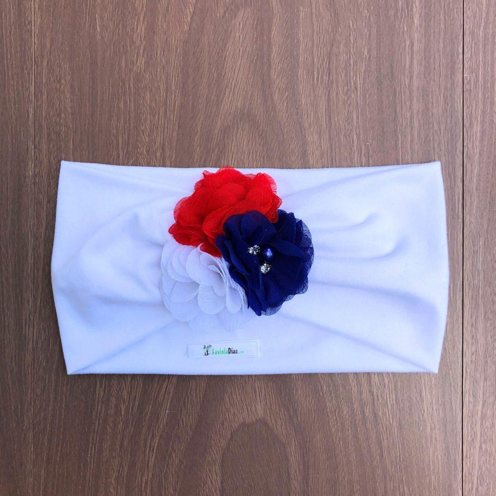 Vincha Blanca Turbante con 3 Flores Blanco Azul y Rojo Charlene