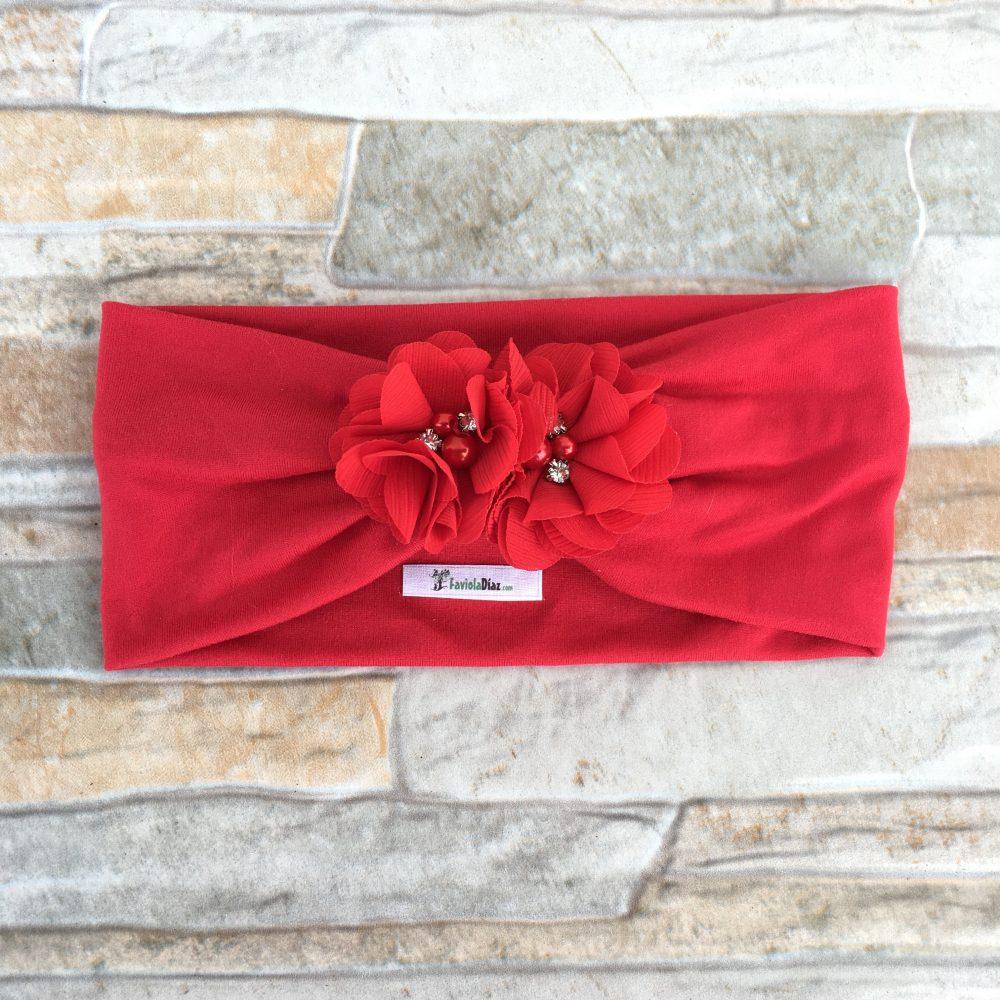 Vincha Roja Turbante con 2 Flores Celia