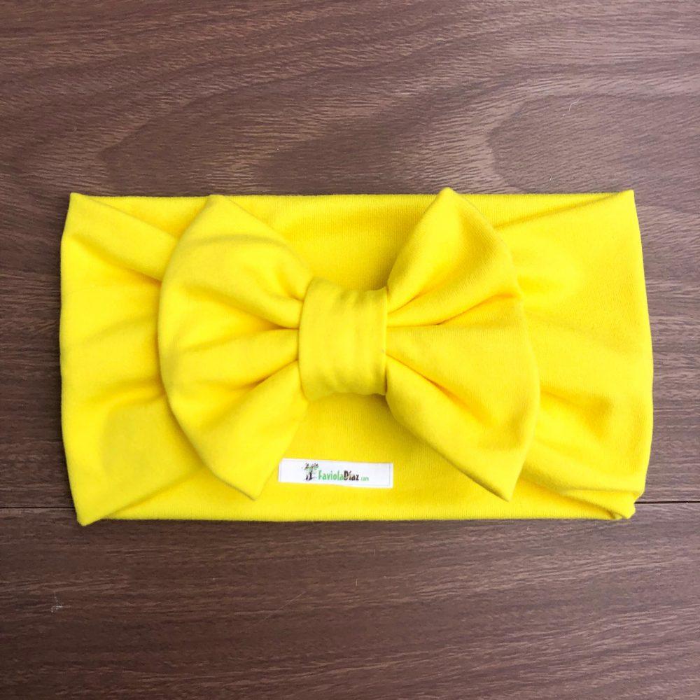 Vincha Amarilla Turbante con Lazo