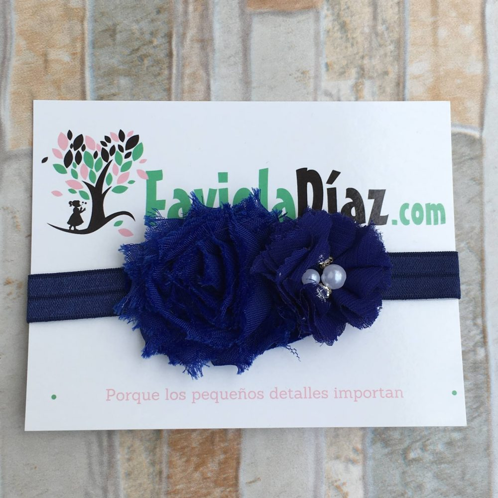 Vincha Azul con Flores Betty