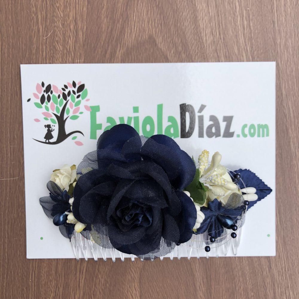 Peineta Azul de Flores