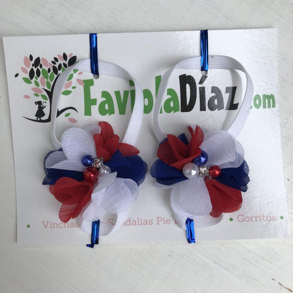 Sandalias Pie Descalzo Patriótica Costarricense Blanco Azul y Rojo de Flor
