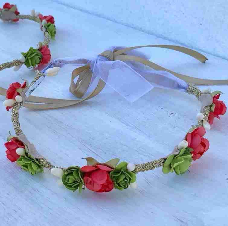 Corona Griega Verde, Dorada y Anaranjada con Flores