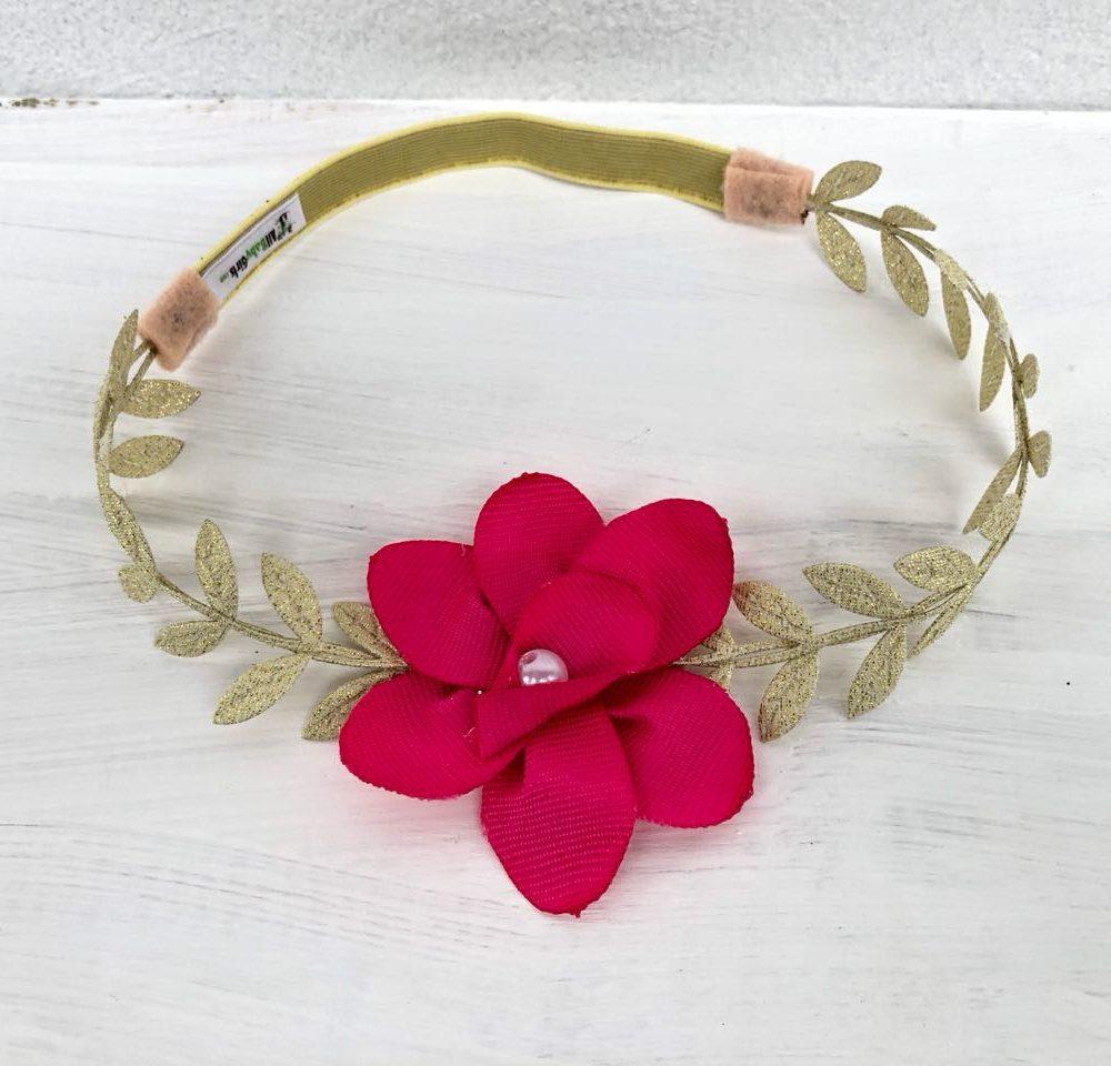 Vincha Griega Dorada con Flor Roja