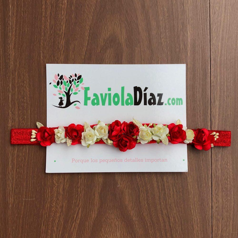 Vincha Roja con Flores Rojas y Beige Berenice