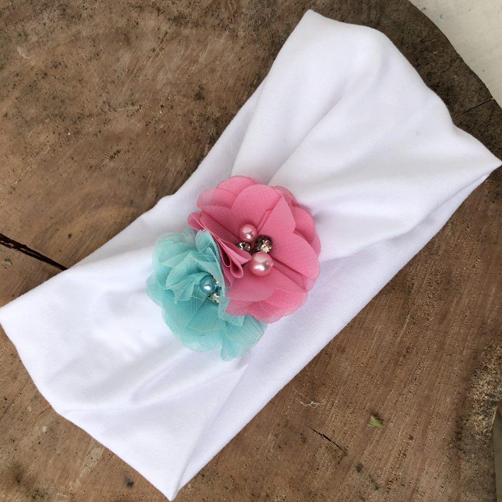 Vincha Turbante Blanca con Flores Menta y Rosada