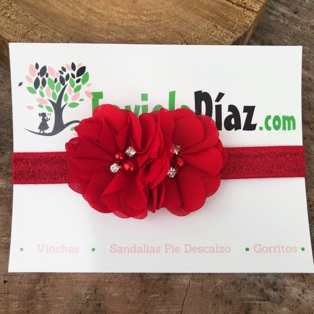 Vincha Roja con Flores Bianca