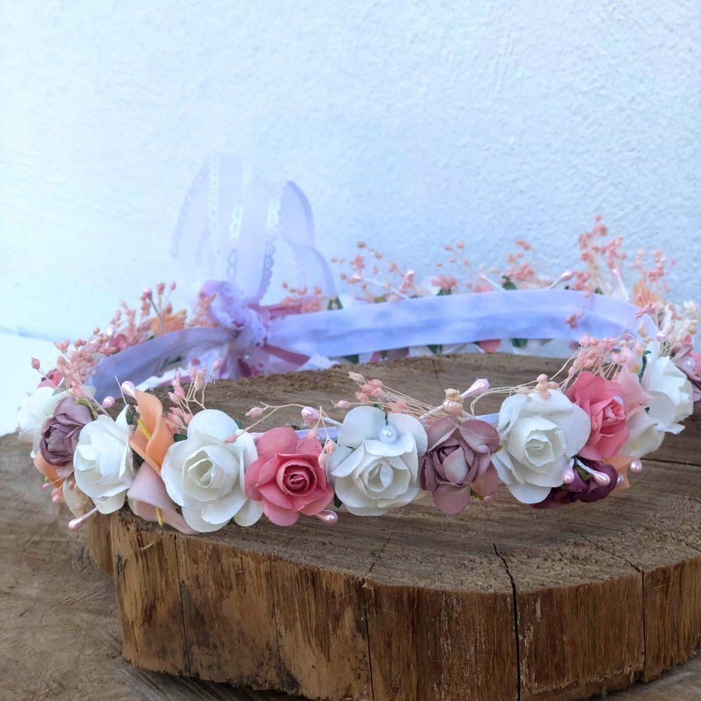 Corona Rosada,  Beige y Rosa Palo con Flores