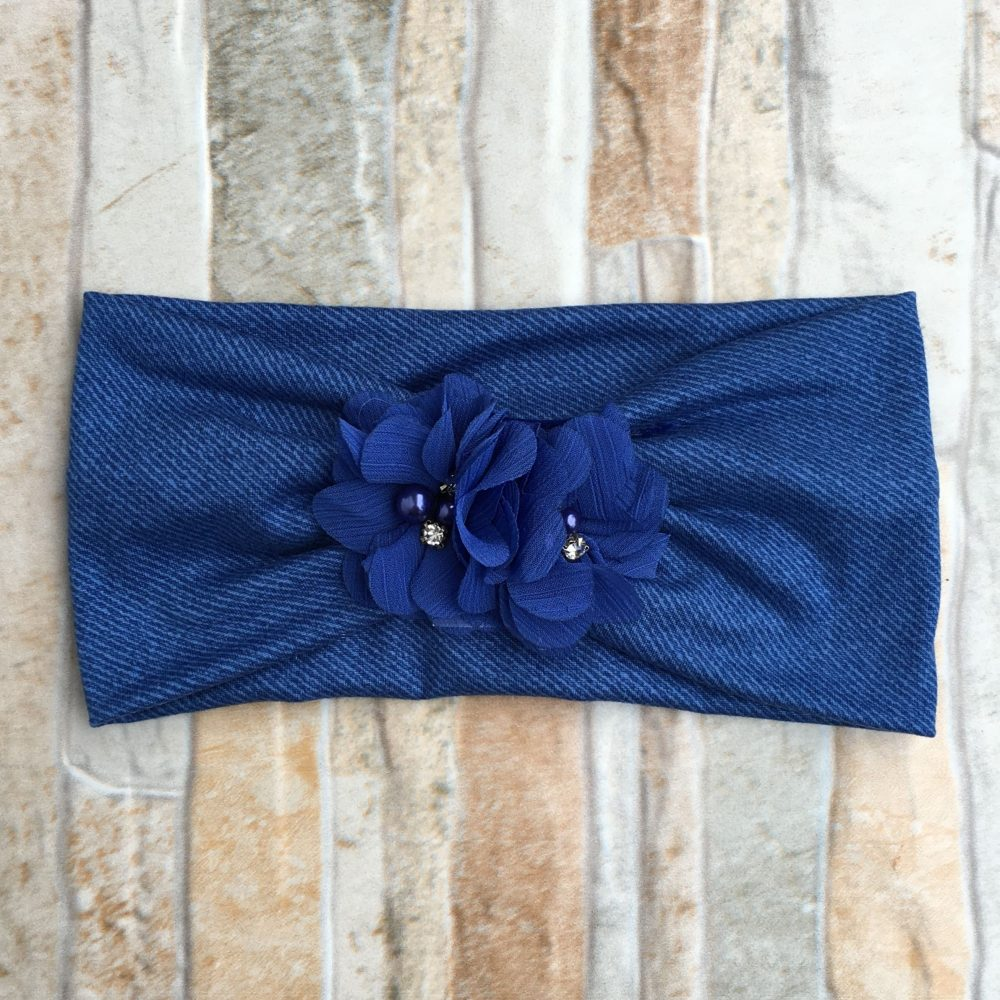 Vincha Azul Jeans Turbante con 2 Flores
