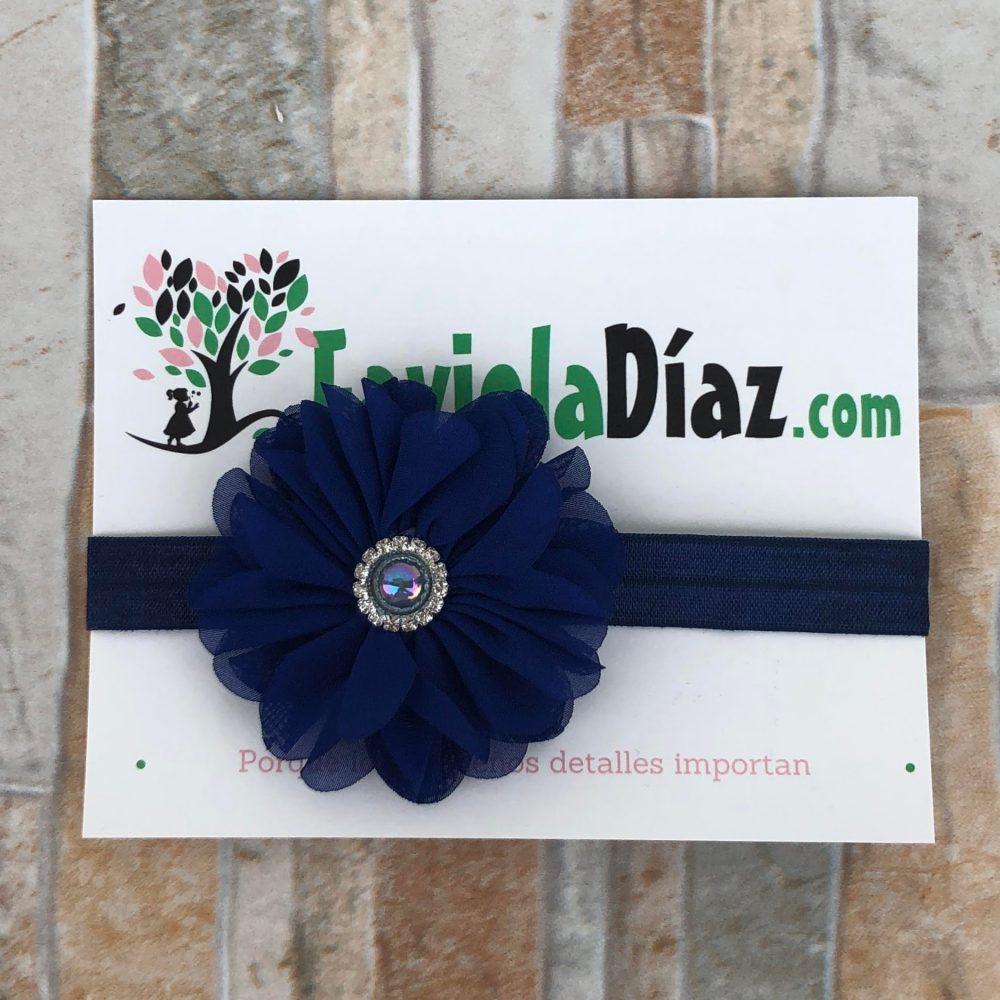 Vincha Azul con Flor Alesandra