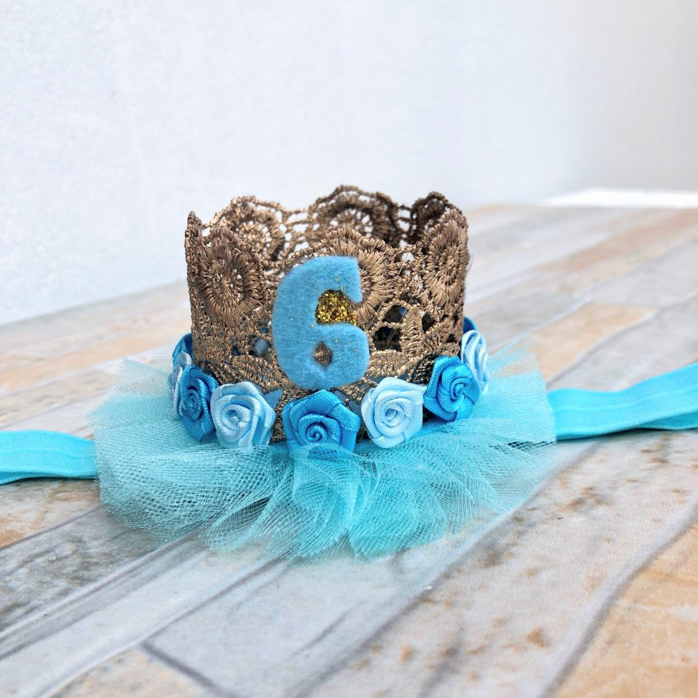 Vincha Corona Dorada y Celeste de Cumpleaños