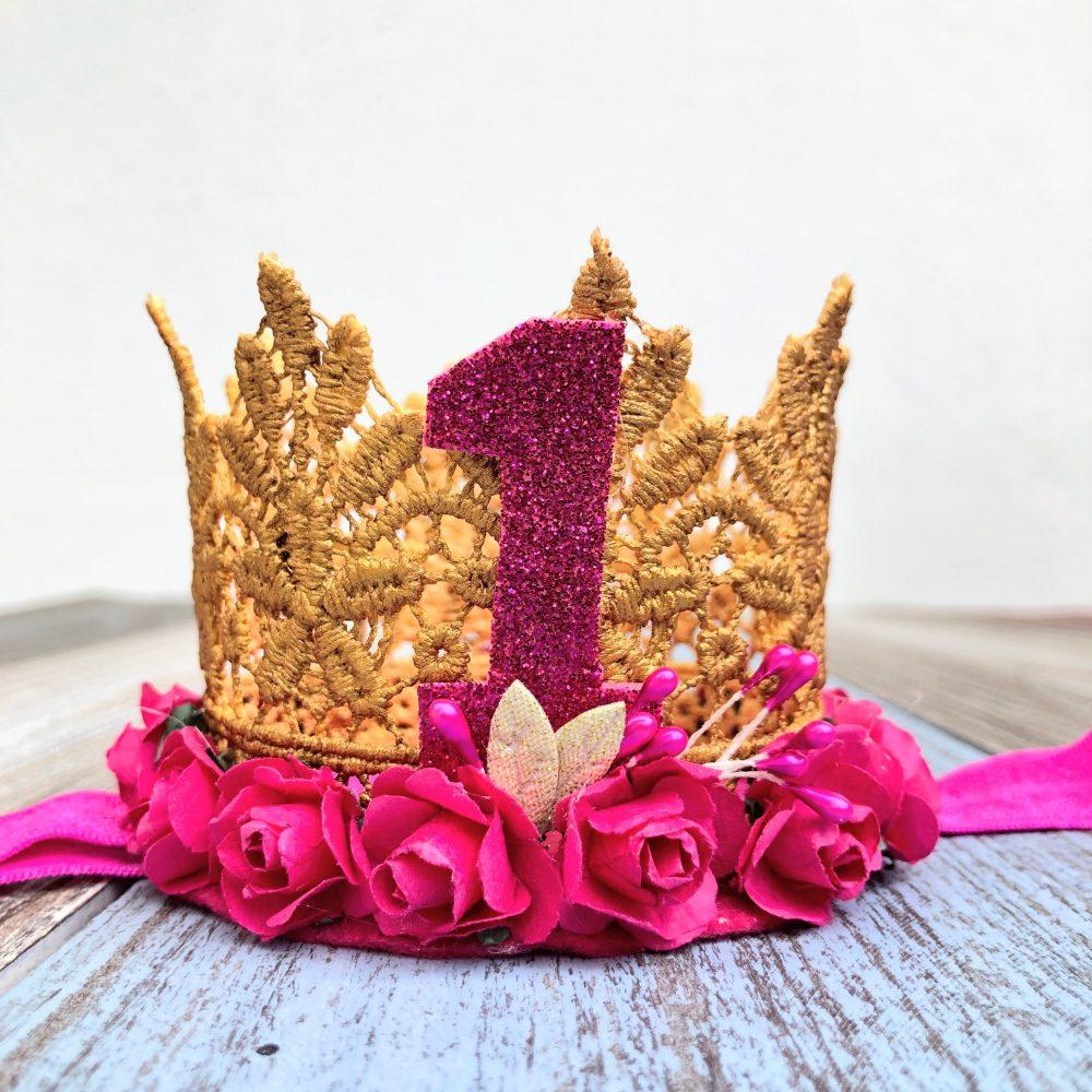 Vincha Corona Dorada y Fucsia de Cumpleaños