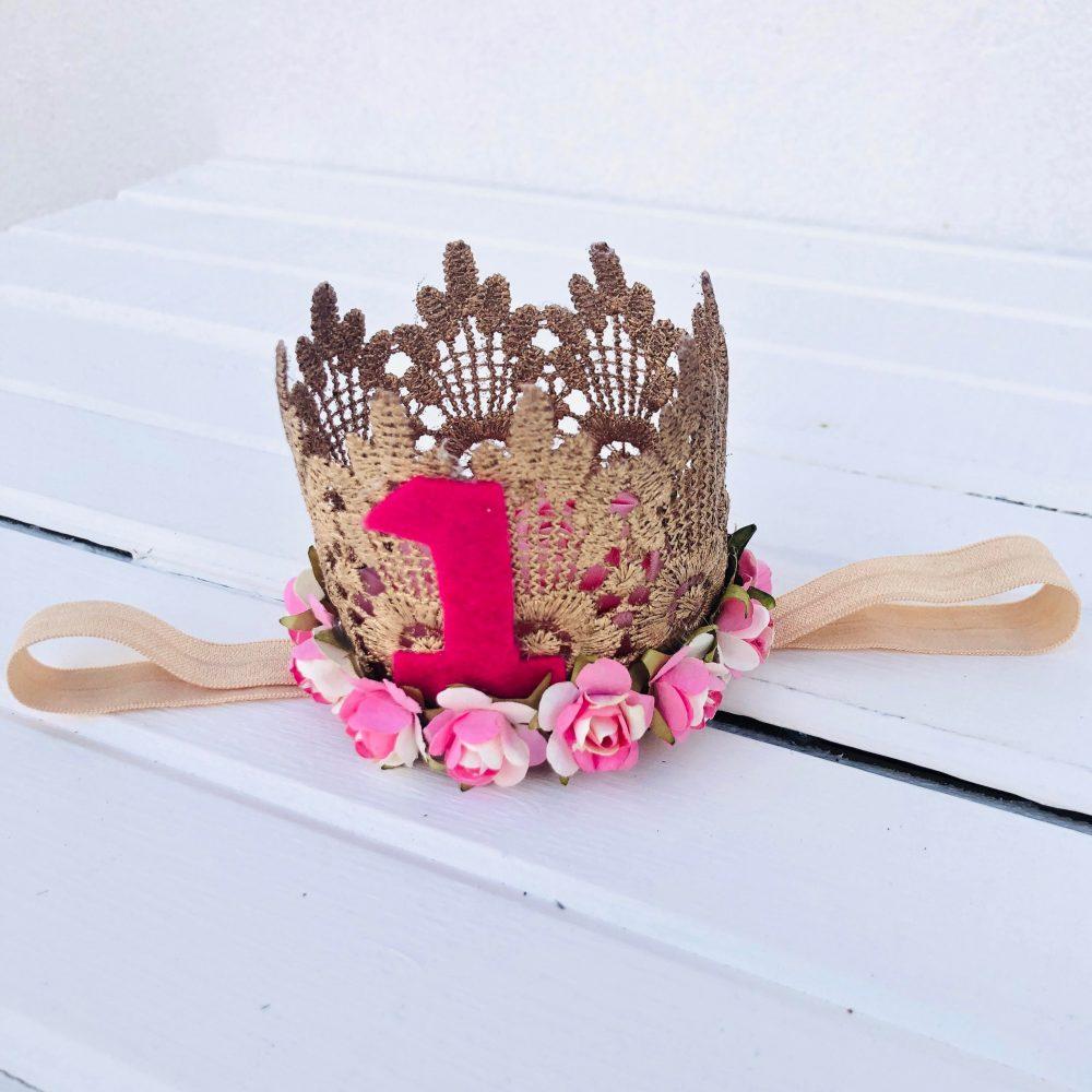 Vincha Corona Dorada y Rosada de Cumpleaños