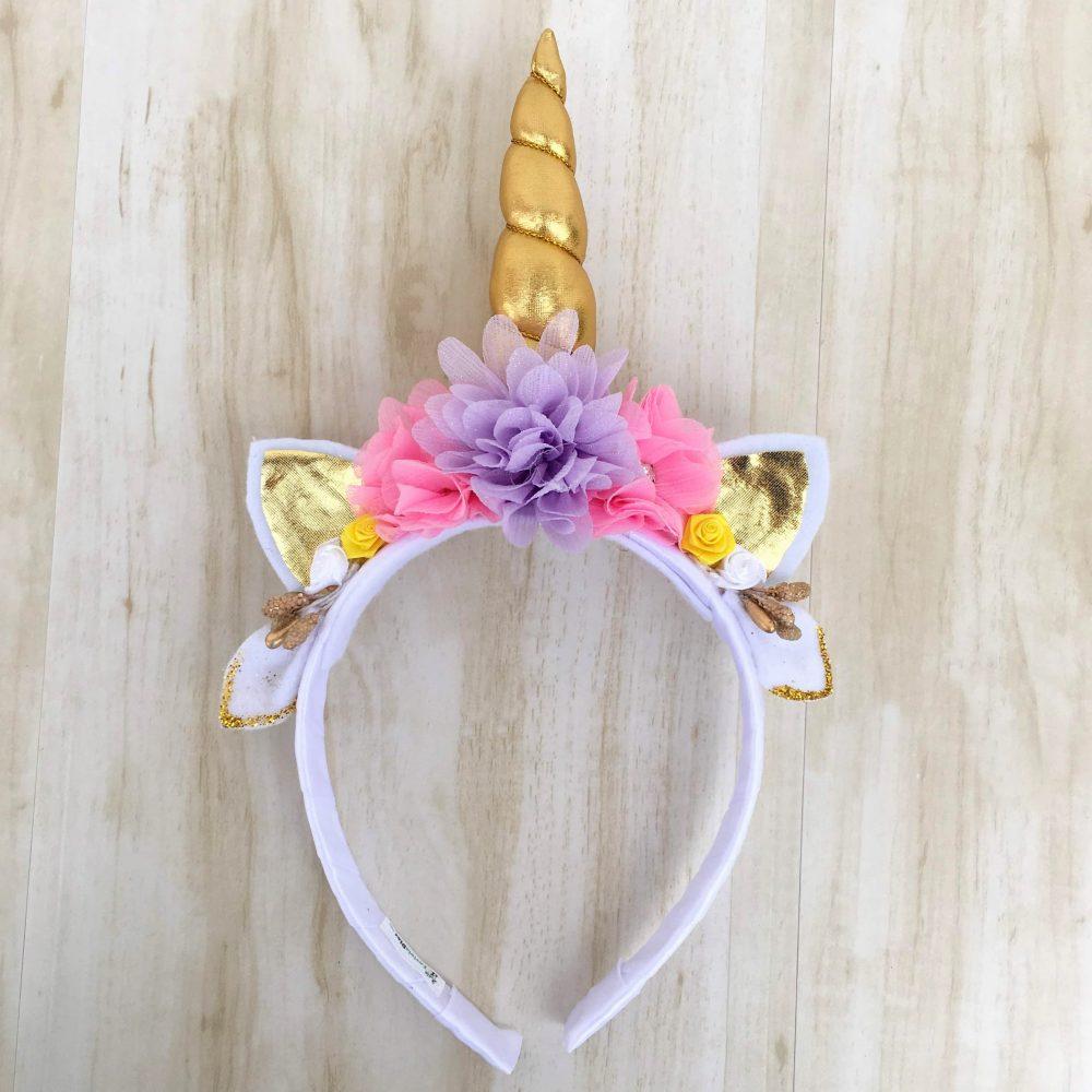 Diadema de Unicornio Rosada y Lila con Flores