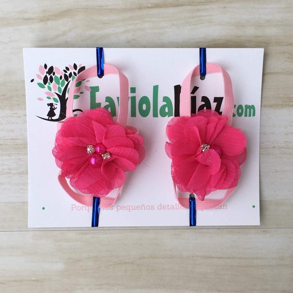 Sandalias Pie Descalzo Fucsia con Flor