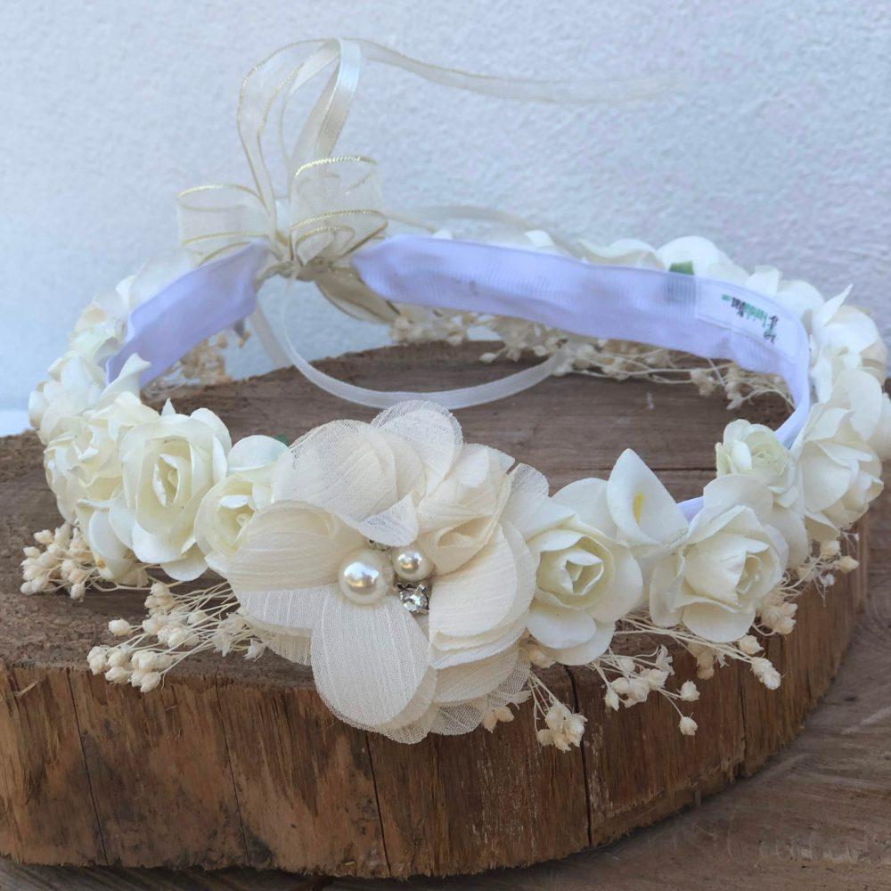 Corona Beige con Flores