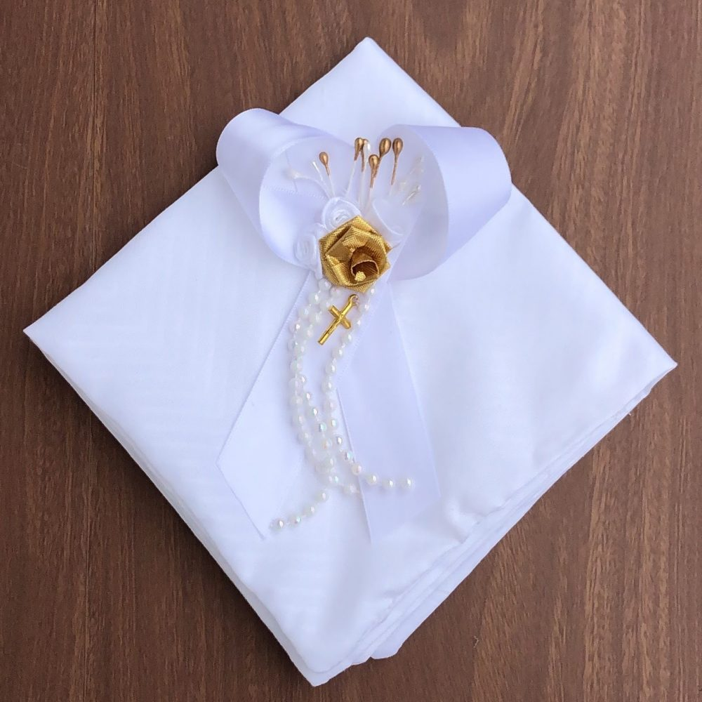 Paño Dorado y Blanco para Bautizo