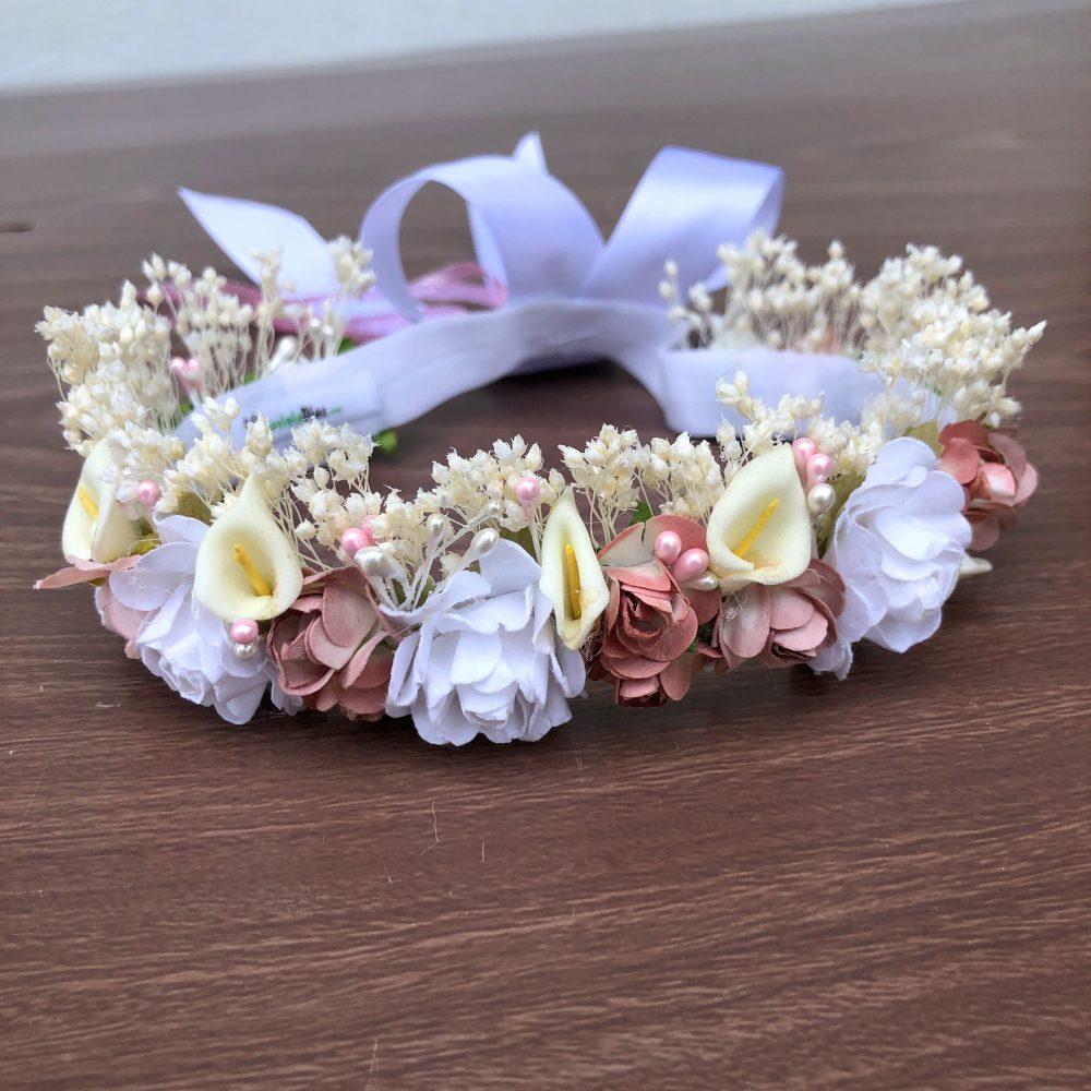 Corona Blanca y Palo Rosa con Flores