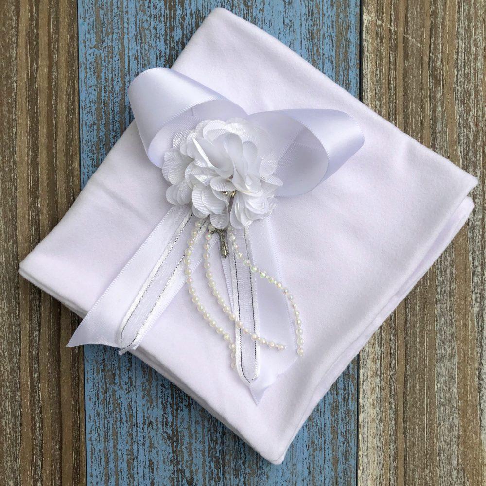Paño Blanco para Bautizo de Flores con Perlas Belén