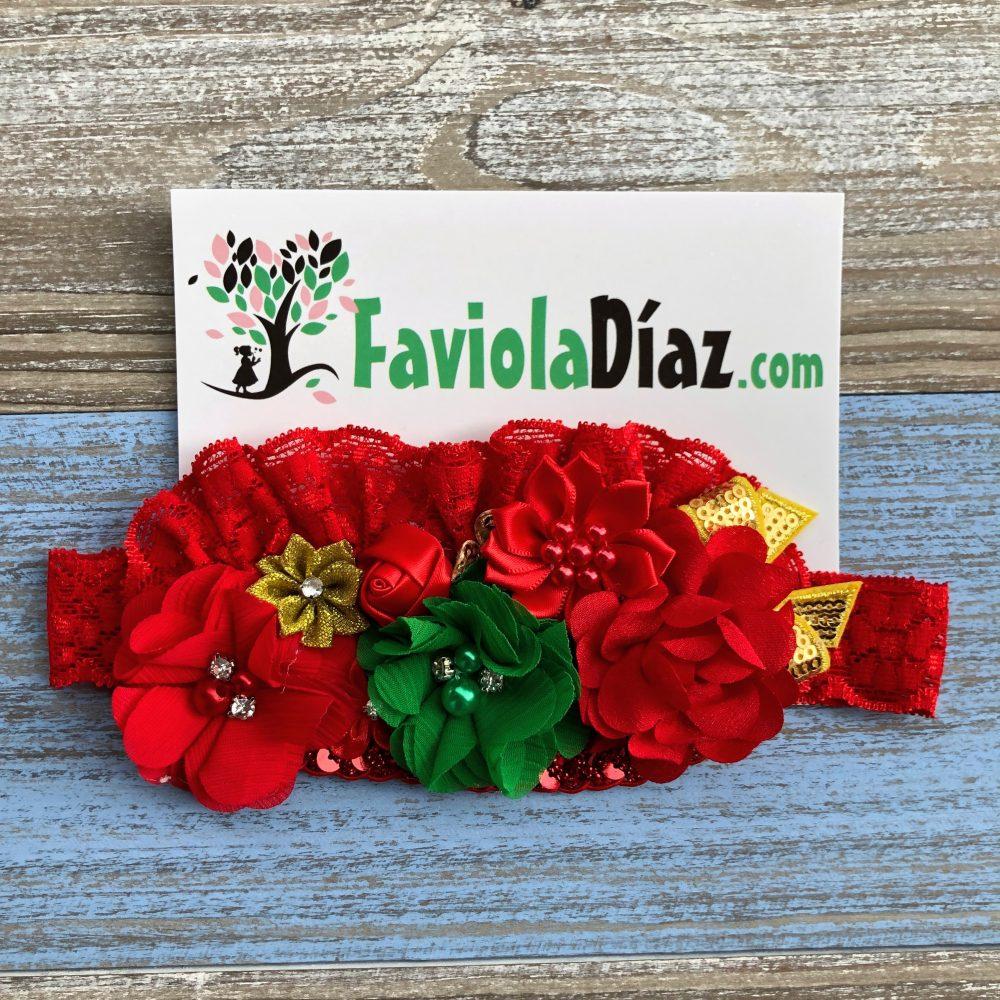 Vincha Roja, Verde y Dorado Alexia