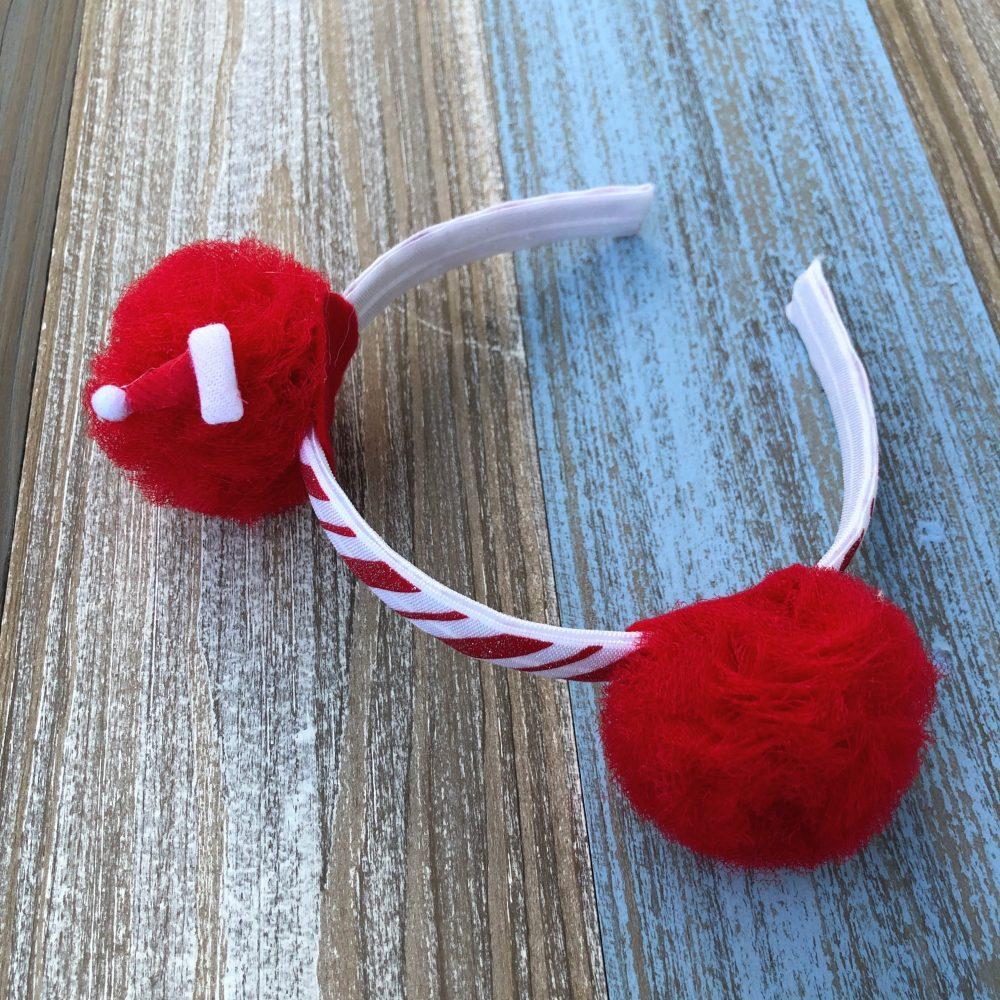 Diadema Navideña Roja con Orejitas