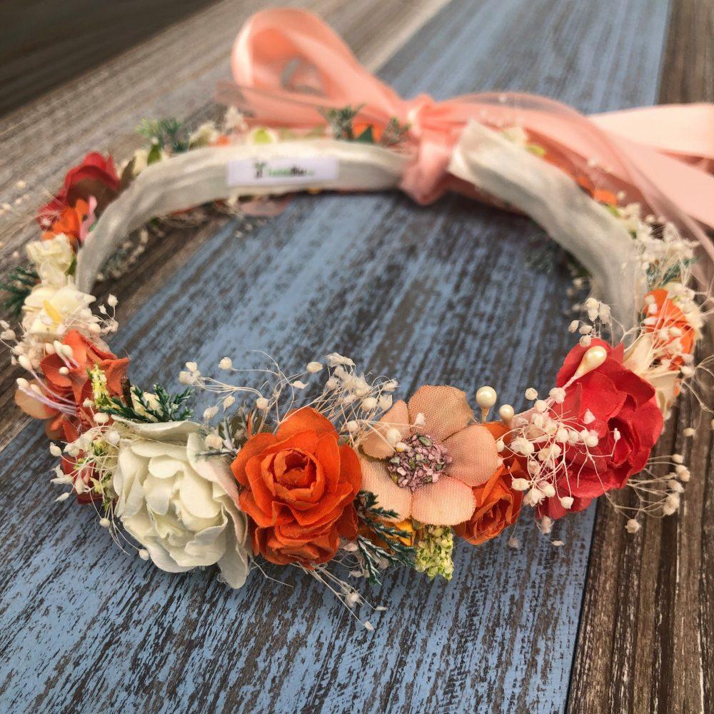 Corona Beige y Coral con Flores