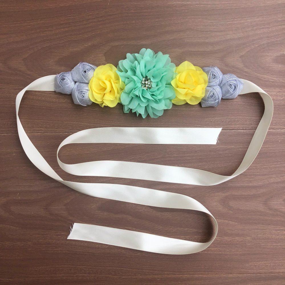 Cinturón Maternal de Flores Menta, Amarillo y Plateado