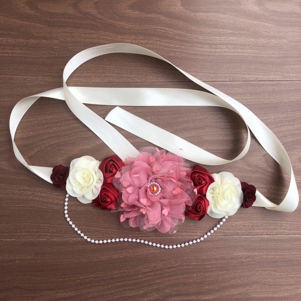 Cinturón Maternal de Flores Rojo, Beige y Palo Rosa