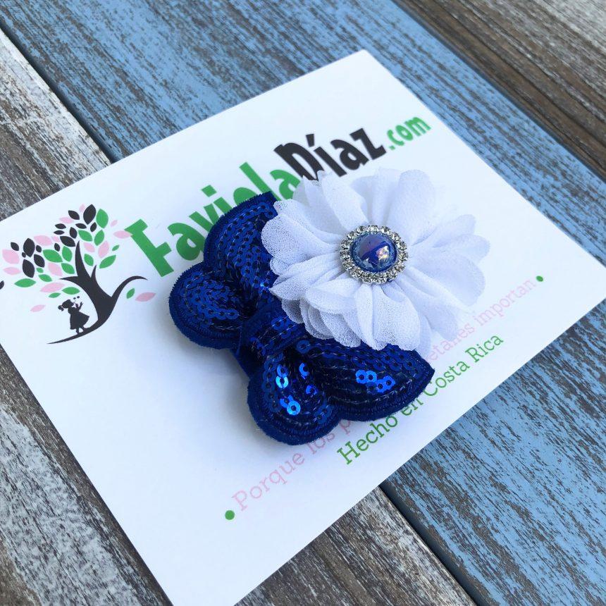Prensa Azul y Blanco con Flores y Lazo