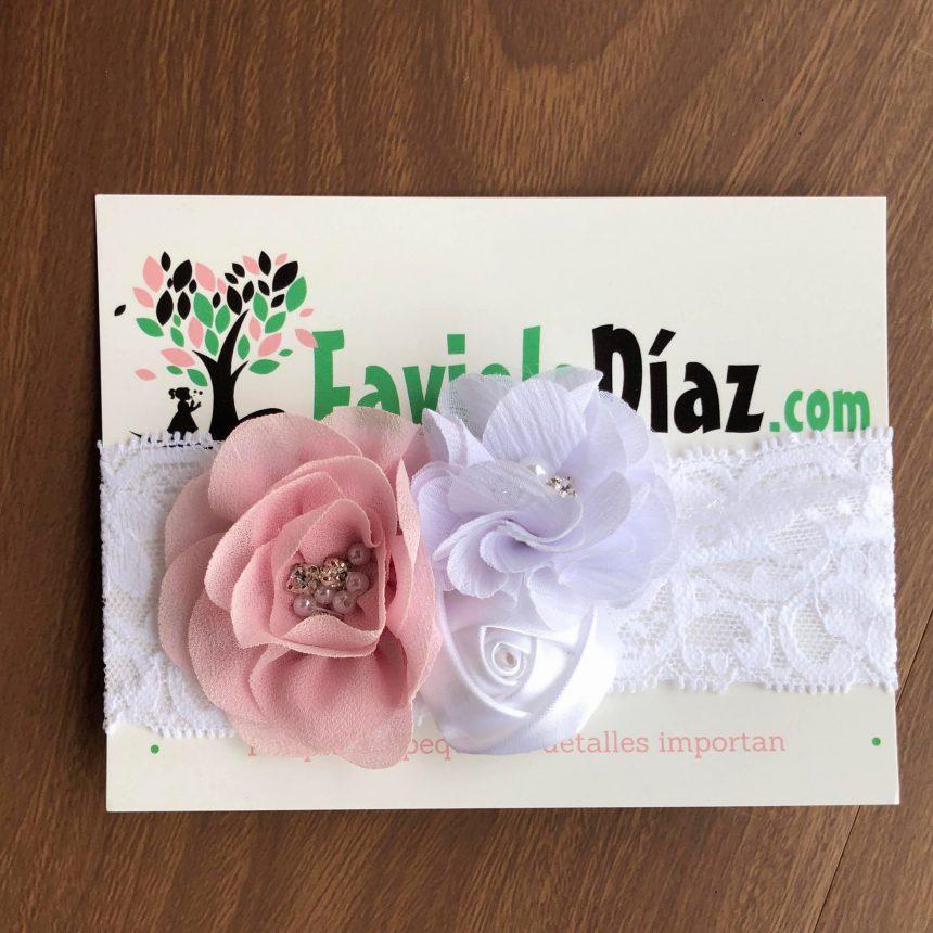 Vincha Blanca y Rosada de Encaje con Flores
