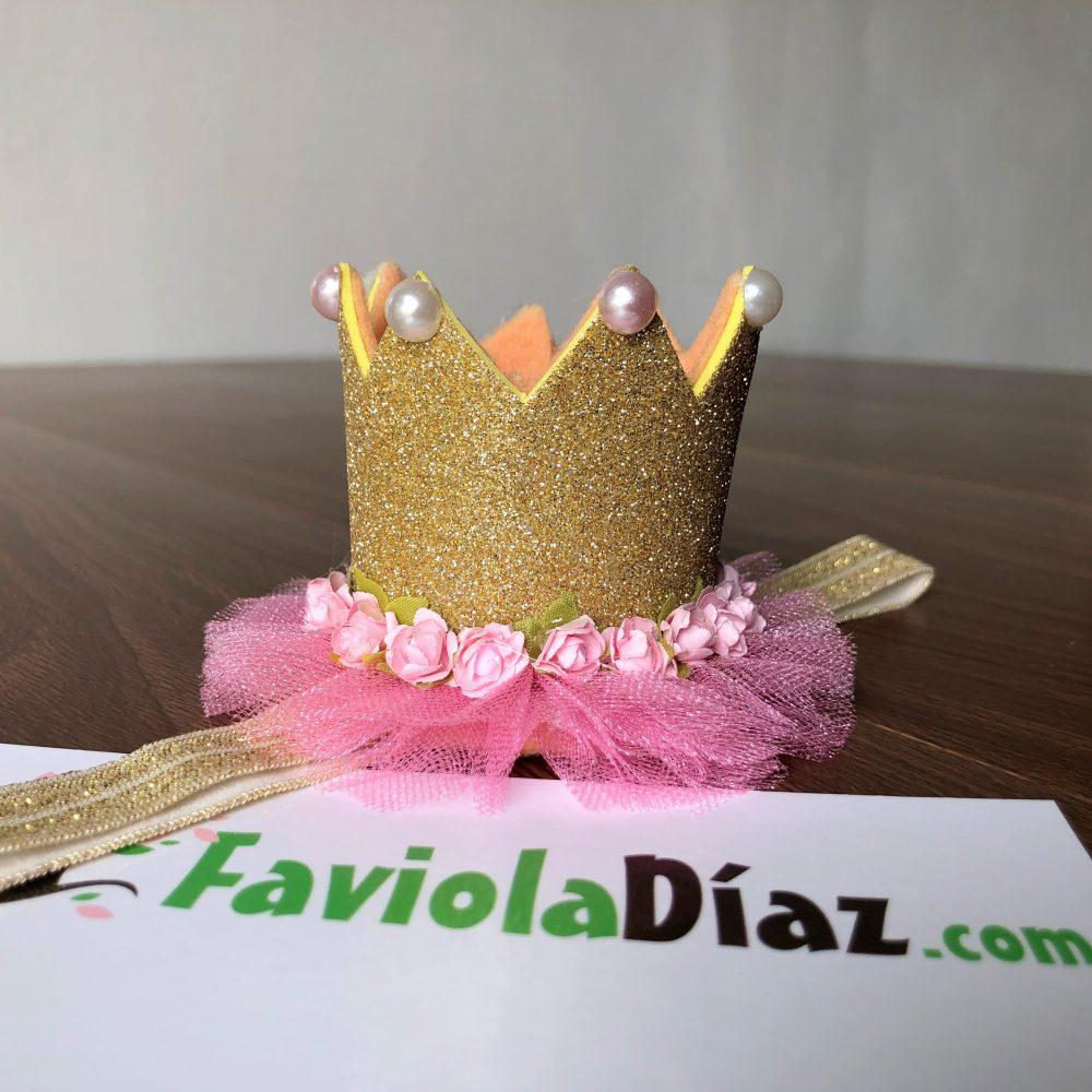Vincha Corona Dorada de Cumpleaños con Perlas