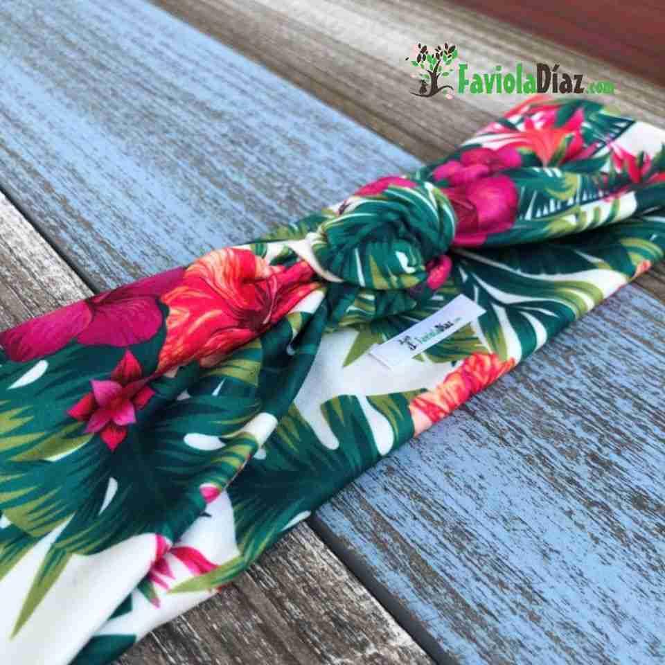 Vincha Fucsia Estampada de Flores Turbante de Nudo Simple