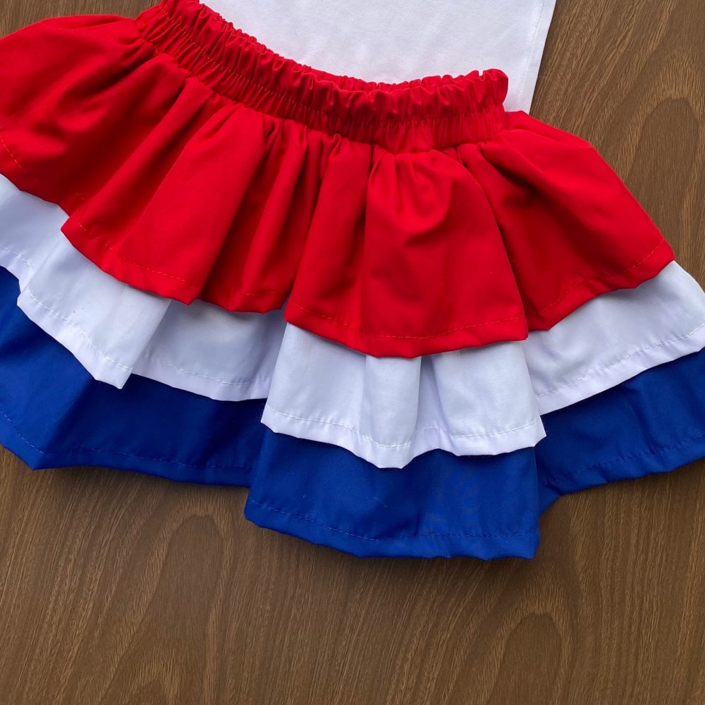 Falda Típica Azul, Blanco y Rojo