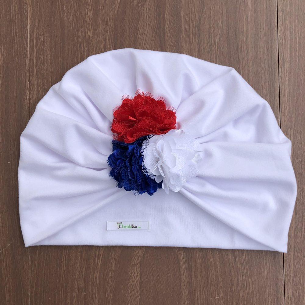 Turbante Blanco de Flores Blanco, Azul y Rojo